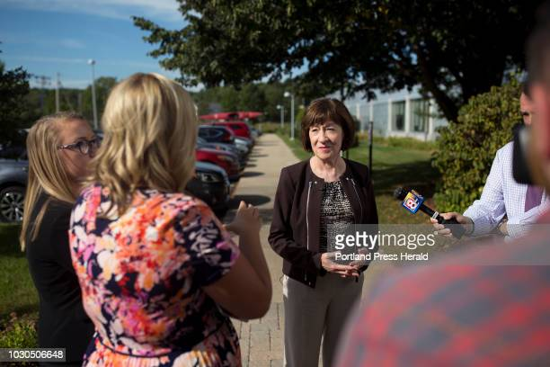 Sen Susan Collins speaks with members of the press about the nomination of Brett Kavanaugh to the Supreme Court after a tour of the healthcare...