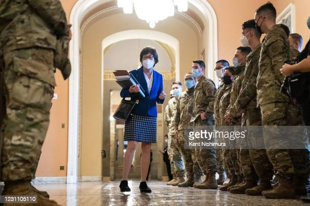 Sen. Susan Collins , speaks with National Guard troops taking a tour of the U.S. Capitol Building on Thursday, Feb. 11, 2021 in Washington, DC. The...