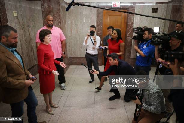 Sen. Susan Collins talks to reporters about her support for a January 6 commission following a meeting with DC Metropolitan Police Officer Michael...