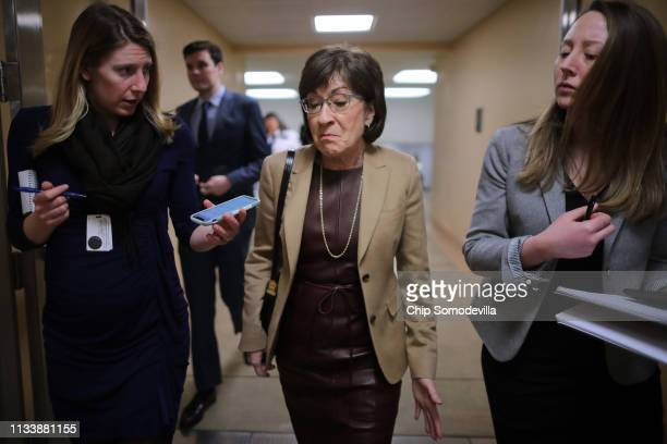 Sen. Susan Collins talks to reporters as she heads to the U.S. Capitol for the weekly Republican policy luncheon March 05, 2019 in Washington, DC....