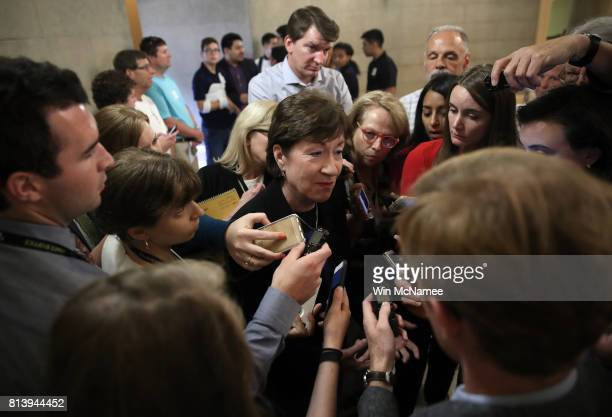 Sen Susan Collins talks with reporters after leaving a meeting of Republican senators where a new version of their healthcare bill was scheduled to...