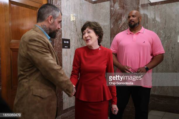 Sen. Susan Collins thanks DC Metropolitan Police Officer Michael Fanone and U.S. Capitol Police Officer Harry Dunn following a meeting about their...