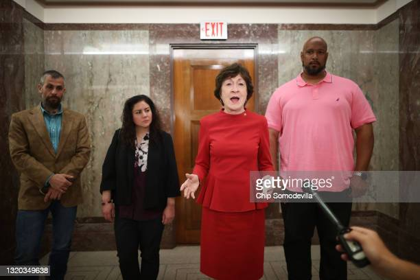 Sen. Susan Collins voices her support of a January 6 commission while talking to journalists with DC Metropolitan Police Officer Michael Fanone,...