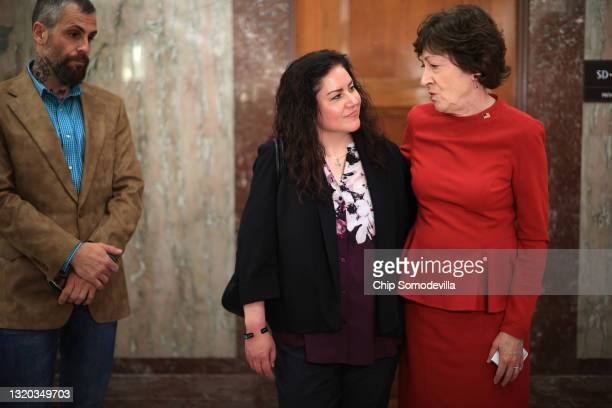 Sen. Susan Collins voices her support of a January 6 commission while talking to journalists with Sandra Garza, girlfriend of the late Capitol Police...