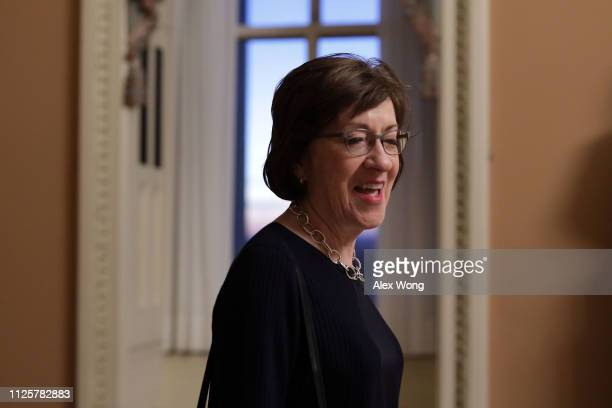 Sen. Susan Collins walks in a hallway at the U.S. Capitol January 28, 2019 in Washington, DC. After President Trump reopened the government for three...