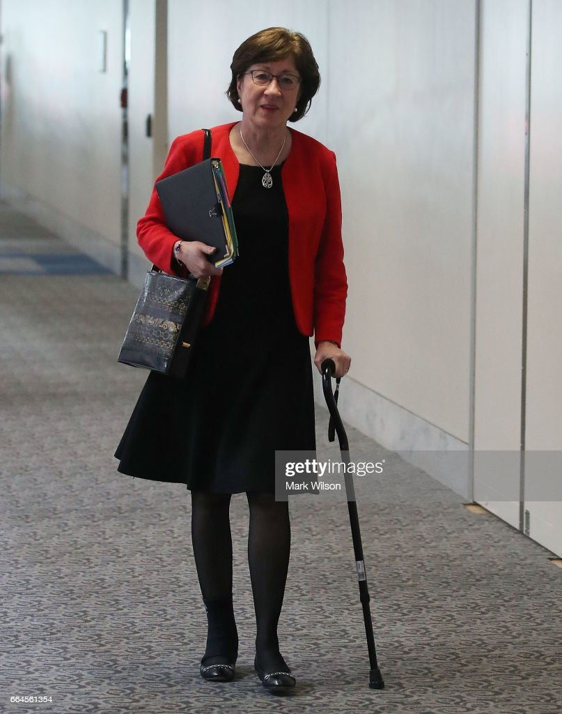 Sen. Susan Collins (R-ME) walks to a Senate Select Committee on Intelligence closed door meeting at the U.S. Capitol, on April 4, 2017 in Washington, DC. The committee has launch an investigation into possible Russian interference in the U.S. presidential election.