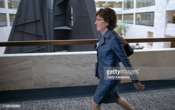 Sen. Susan Collins, walks to Senate Intelligence Committee closed door meeting on May 14, 2019 in Washington, DC. News that the Senate Intelligence...