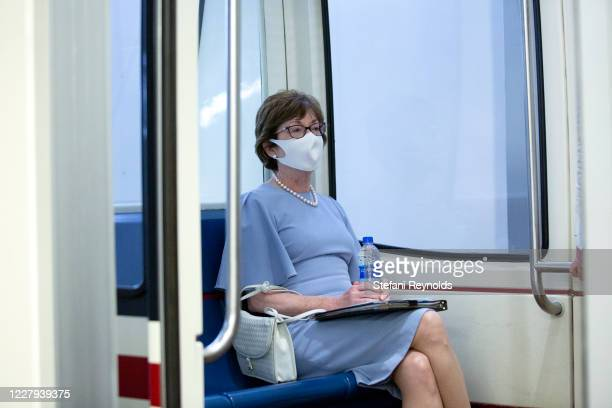Sen. Susan Collins wears a mask while sitting on the Senate subway under the U.S. Capitol on August 6, 2020 in Washington, DC. Senate Majority Leader...