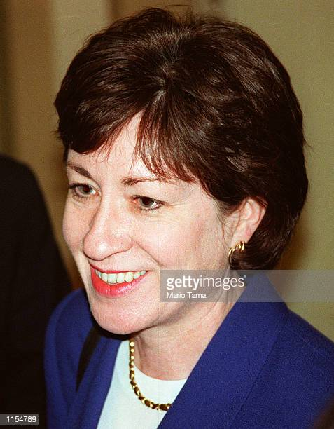 Sen. Susan M. Collins meets with reporters during the impeachment trial of President Clinton on January 7, 1999.