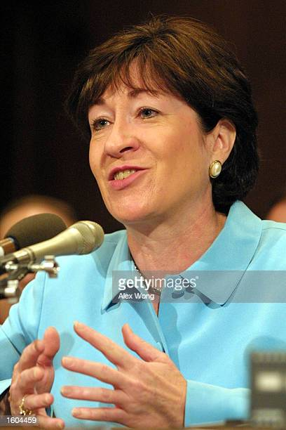 Sen Susan M Collins speaks during a hearing to examine the environmental and public health impacts of power plant emissions before the Senate...