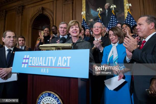 Sen Tammy Baldwin DWis attends a rally with Democrats in the Capitol to introduce the Equality Act which will amend existing civil rights legislation...