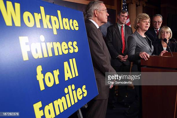 Sen Tammy Baldwin speaks during a news conference before the final passage of the Employment NonDiscrimination Act with Senate Majority Leader Harry...