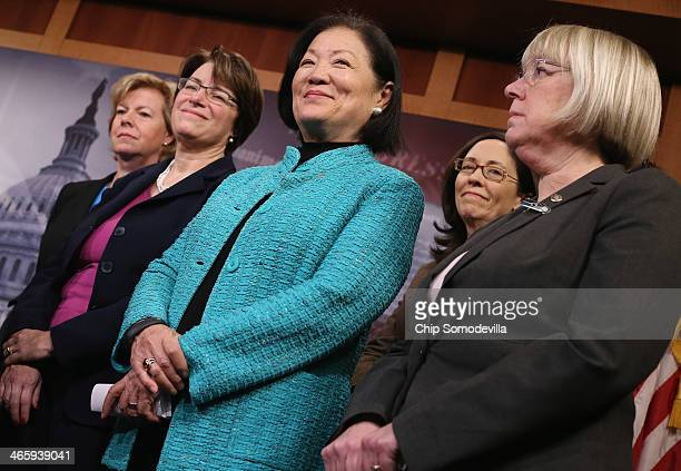 US Sen Tammy Baldwin US Sen Amy Klobuchar US Sen Mazie Hirono US Sen Maria Cantwell and US Sen Patty Murray join other women Democratic senators for...