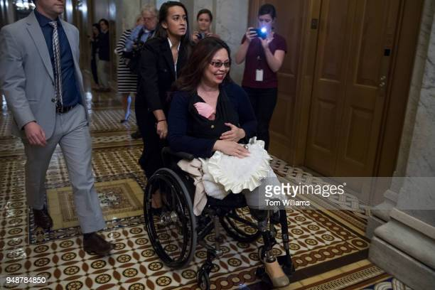Sen Tammy Duckworth DIll brings her baby Maile Pearl into the Capitol for a vote on April 19 2018 Earlier in the week a resolution was passed to...
