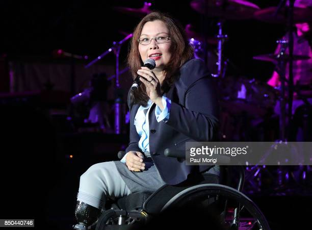 S Sen Tammy Duckworth speaks at the VetsAid Charity Benefit Concert at Eagle Bank Arena on September 20 2017 in Fairfax Virginia VetsAid is a...