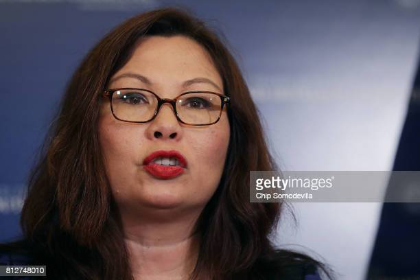 Sen Tammy Duckworth speaks during a news conference about resisting the Trump Administration's Presidential Advisory Commission on Election Integrity...