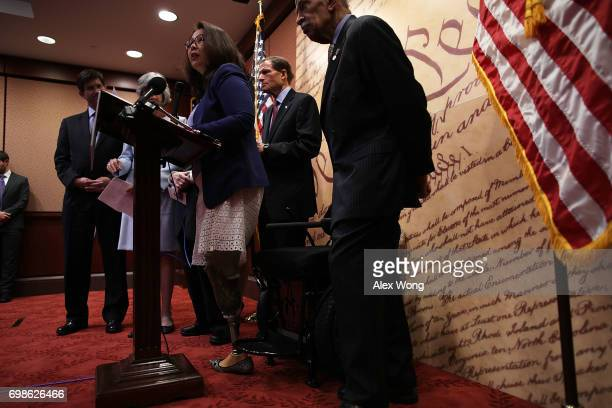 S Sen Tammy Duckworth speaks during a news conference June 20 2017 on Capitol Hill in Washington DC House and Senate Democrats held a news conference...