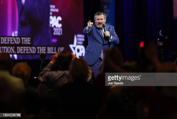Sen. Ted Cruz addresses the Conservative Political Action Conference held in the Hyatt Regency on February 26, 2021 in Orlando, Florida. Begun in...