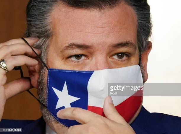 Sen. Ted Cruz adjusts his face masks while Supreme Court nominee Judge Amy Coney Barrett testifies before the Senate Judiciary Committee on the...