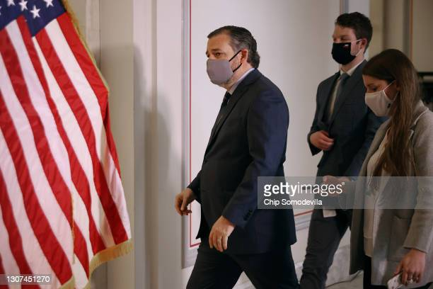 Sen. Ted Cruz arrives for the weekly Senate Republican caucus luncheon in the Russell Senate Office Building on Capitol Hill March 16, 2021 in...