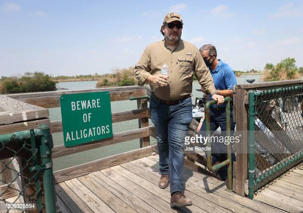 Sen. Ted Cruz arrives to speak to the media after a tour of part of the Rio Grande river on a Texas Department of Public Safety boat on March 26,...