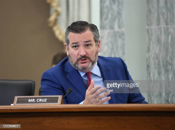 Sen. Ted Cruz asks a question during an oversight hearing to examine the Federal Communications Commission on Capitol Hill on June 24, 2020 in...
