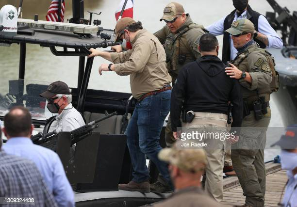 Sen. Ted Cruz boards a Texas Department of Public Safety boat for a tour of part of the Rio Grande river on March 26, 2021 in Mission, Texas. The...