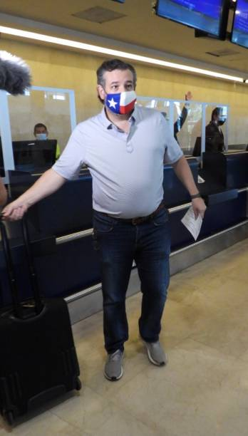 Sen. Ted Cruz checks in for a flight at Cancun International Airport after a backlash over his Mexican family vacation as his home state of Texas...