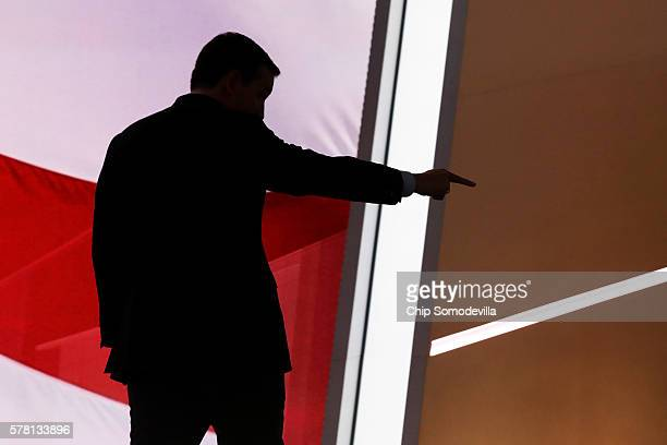 Sen Ted Cruz gestures as he walks off stage after delivering a speech on the third day of the Republican National Convention on July 20 2016 at the...