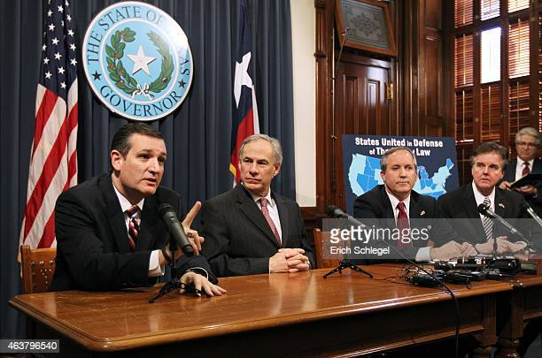 US Sen Ted Cruz Governor Greg Abbott Attorney General Ken Paxton Lieutenant Governor Dan Patrick hold a joint press conference February 18 2015 in...