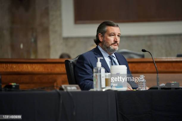 Sen. Ted Cruz is seen during a Senate Homeland Security and Governmental Affairs & Senate Rules and Administration joint hearing to discuss the...