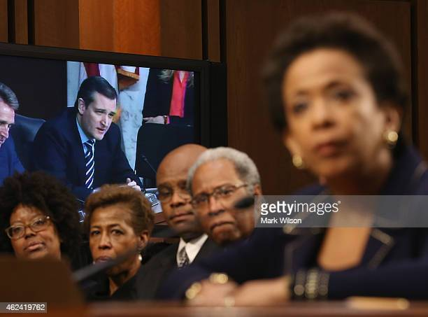 Sen Ted Cruz is shown on a monitor as he questions US Attorney for the Eastern District of New York Loretta Lynch testifies during her confirmation...