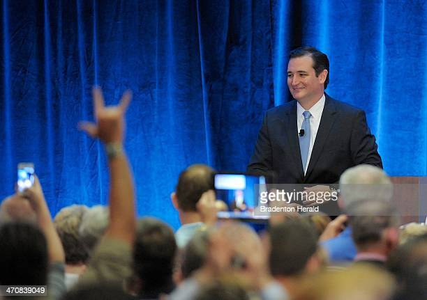 US Sen Ted Cruz is welcomed at the Hyatt Regency in Sarasota Fla after accepting the Statesman of the Year Award during a rally for the Republican...