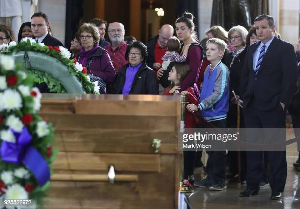 Sen Ted Cruz joins members of the public in the Rotunda of the US Capitol to view the casket containing the remains of evangelist Rev Billy Graham on...