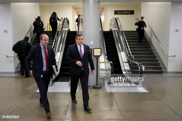 Sen Ted Cruz leaves the US Capitol after the Senate went into recess at 11pm February 8 2018 in Washington DC Despite attempts by Republicans and...