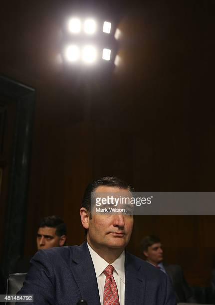 Sen Ted Cruz listens to testimony during a Senate Judiciary Committee hearing on Capitol Hill July 21 2015 in Washington DC The committee heard...