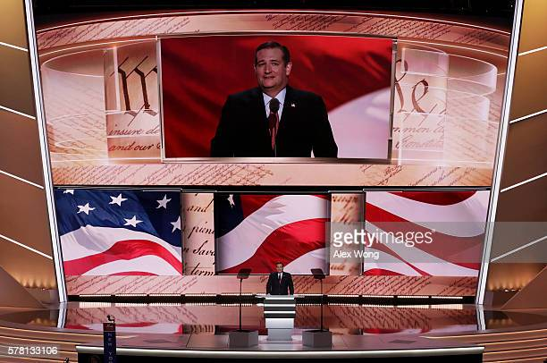 Sen Ted Cruz pauses during his speech on the third day of the Republican National Convention on July 20 2016 at the Quicken Loans Arena in Cleveland...