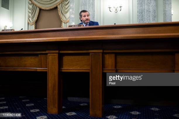 Sen. Ted Cruz questions Gina Raimondo, nominee for Secretary of Commerce, during her confirmation hearing before the Senate Commerce, Science, and...