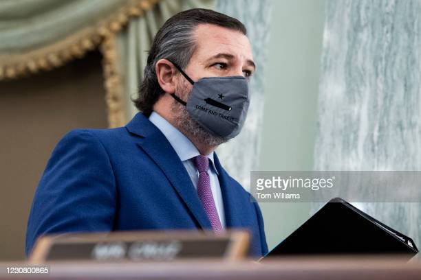 Sen. Ted Cruz, R-Texas, arrives for the Senate Commerce, Science, and Transportation Committee confirmation hearing for Gina Raimondo, nominee for...