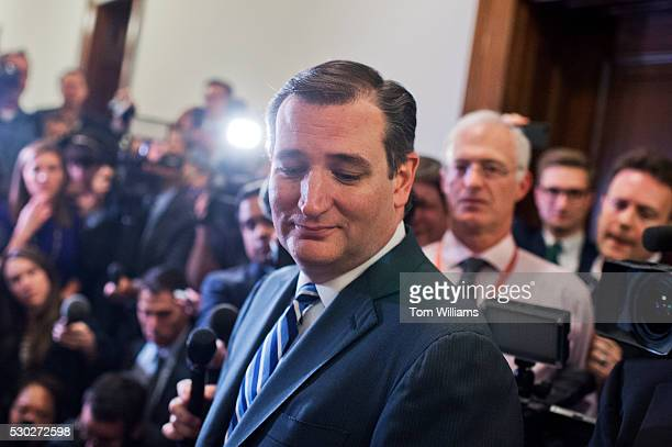 Sen. Ted Cruz, R-Texas, conducts a news conference in Russell Building after arriving to his office for the first time since suspending his...