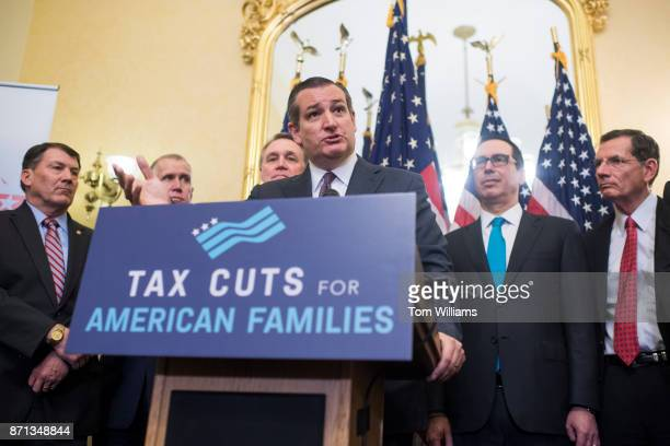 Sen Ted Cruz RTexas speaks during a news conference in the Capitol where GOP senators said families and small businesses would benefit from tax...