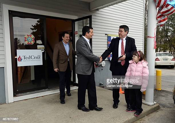 S Sen Ted Cruz shakes hands with people after speaking at the VFW Post March 27 2015 in Merrimack New Hampshire Cruz is the first politician to have...