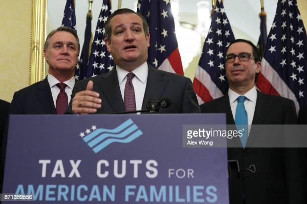 S Sen Ted Cruz speaks as Sen David Perdue and Secretary of the Treasury Steven Mnuchin listen during a news conference on tax reform November 7 2017...
