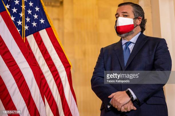 Sen. Ted Cruz speaks at a press conference on school reopening during Covid-19 at US Capitol on March 04, 2021 in Washington, DC. The House of...
