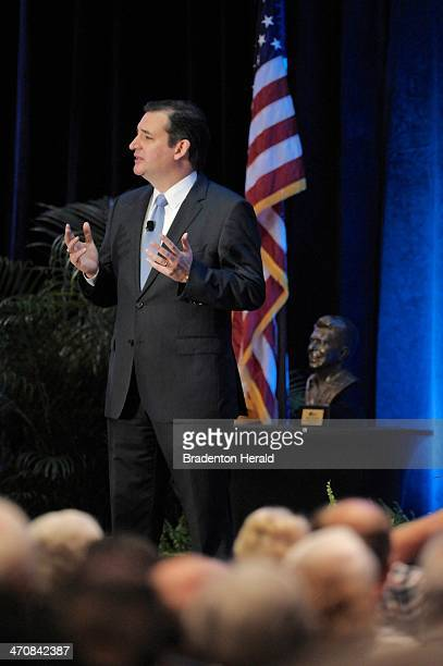 US Sen Ted Cruz speaks at the Hyatt Regency in Sarasota Fla after accepting the Statesman of the Year Award during a rally for the Republican Party...