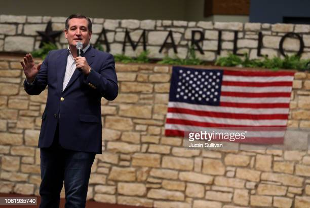S Sen Ted Cruz speaks during a Get Out The Vote Bus Tour rally at the Amarillo Civic Center on October 31 2018 in Amarillo Texas Sen Cruz is...