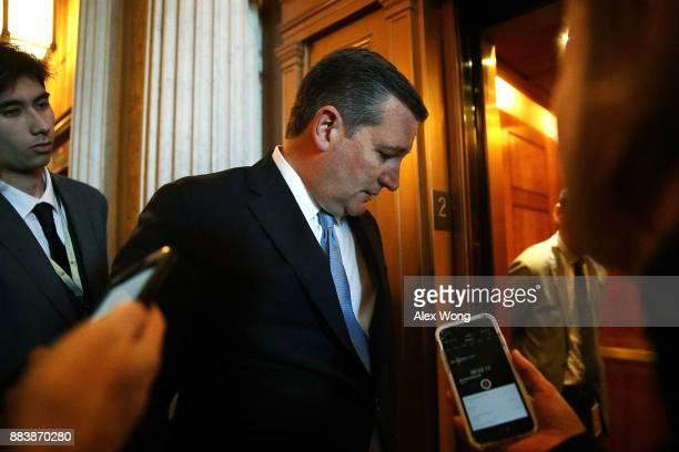 S Sen Ted Cruz speaks to members of the media at the Capitol December 1 2017 in Washington DC Senate GOPs indicate that they have enough votes to...