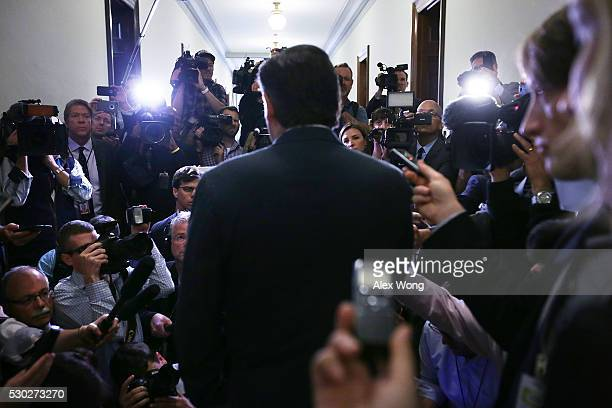 S Sen Ted Cruz speaks to members of the media outside his office at the Senate Russell Office Building May 10 2016 on Capitol Hill in Washington DC...