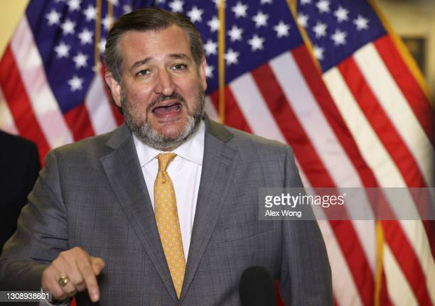 Sen. Ted Cruz speaks to members of the press after a Senate Republican luncheon at Russell Senate Office Building March 24, 2021 on Capitol Hill in...