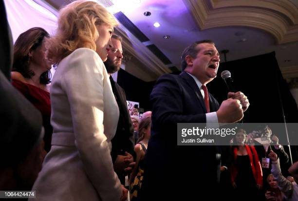 S Sen Ted Cruz speaks to supporters during his election night gathering at the Hilton Houston Post Oak on November 06 2018 in Houston Texas Sen Cruz...